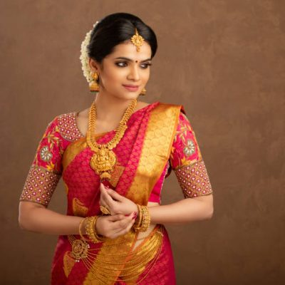 Pretty Indian young Hindu girl dress up for festival.